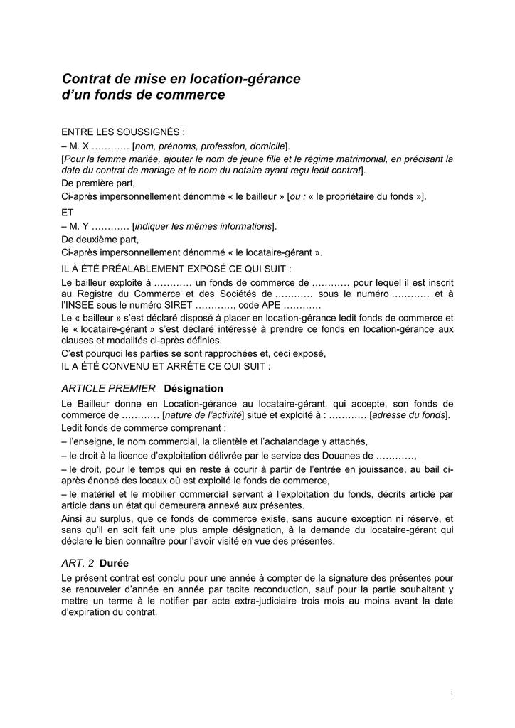Contrat De Mise En Location Gerance D Un Fonds De Commerce