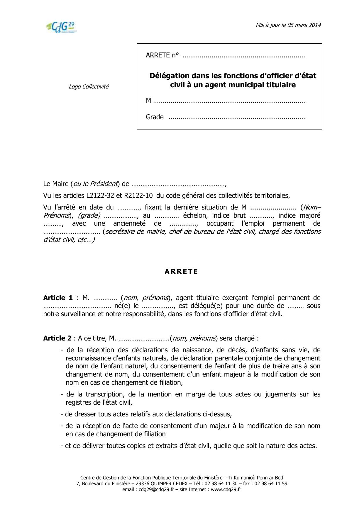 Delegation Dans Les Fonctions D Officier D Etat Civil A Un Agent