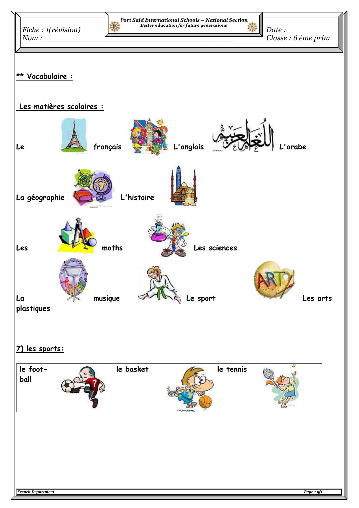 1 Vocabulaire Les Matieres Scolaires Le Francais L Anglais L