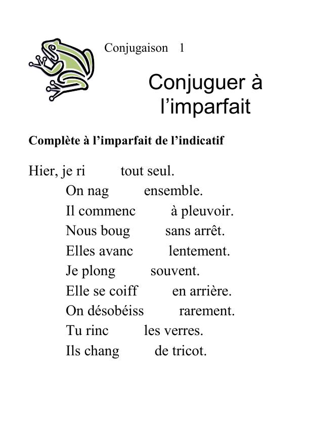 Conjuguer A L Imparfait