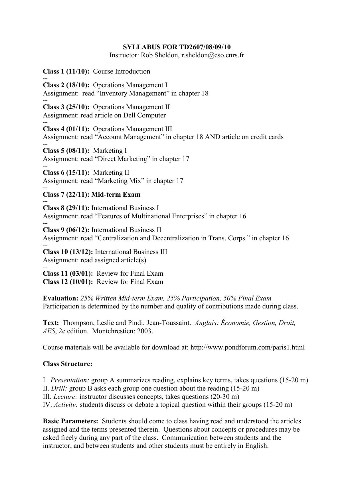 syllabus for td2607/08/09/10