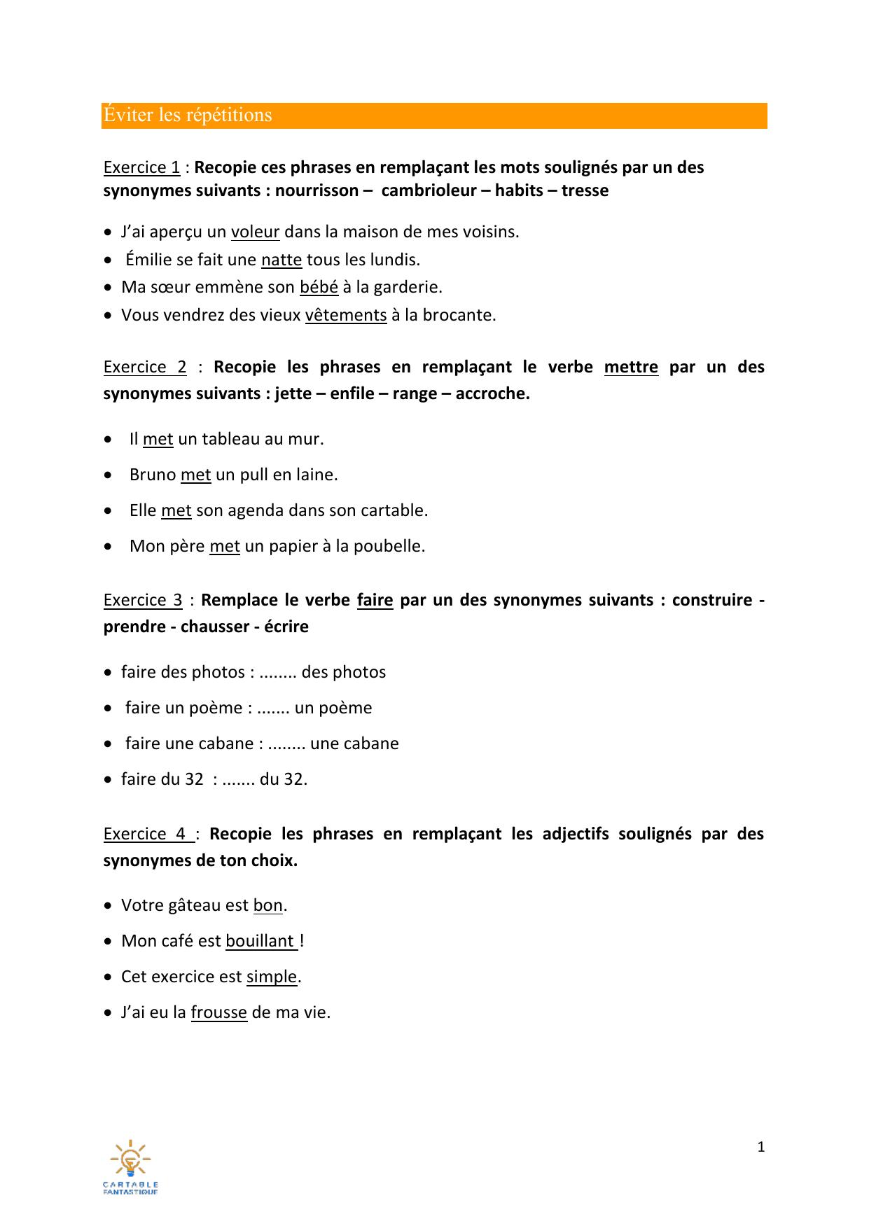 Exercice 5 Remplace Les Mots Soulignes Par Des Synonymes De