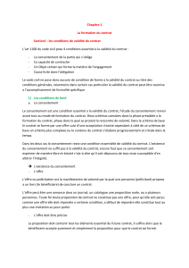 Section1 : les conditions de validité du contrat