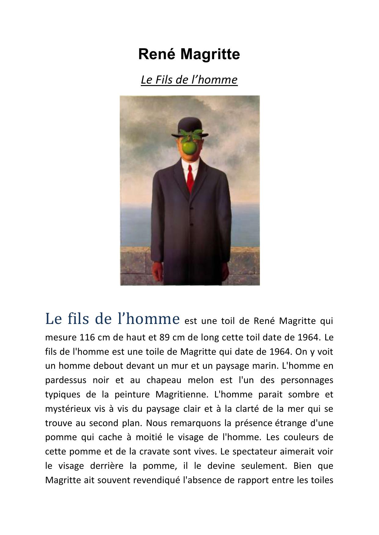 Le Fils De L Homme Est Une Toil De Rene Magritte Qui Mesure 116 Cm