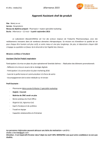 Alternance 2015 Apprenti Assistant chef de produit