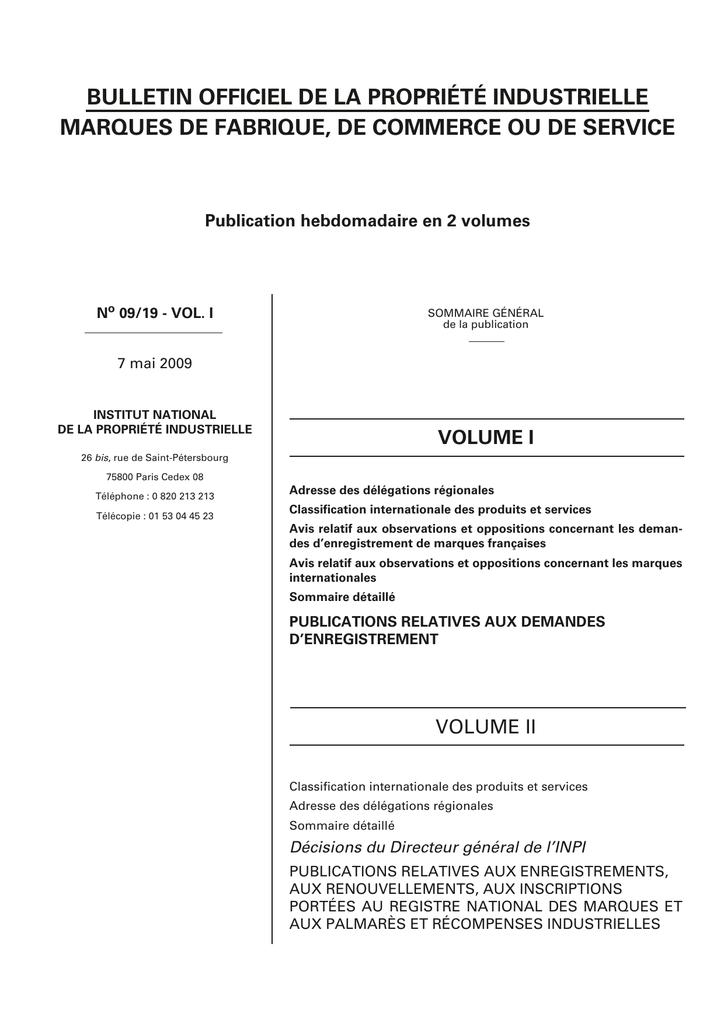Bulletin Officiel De La Propriete Industrielle Marques De