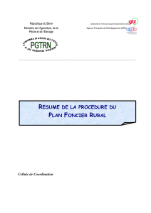 RESUME DE LA PROCEDURE DU PLAN FONCIER RURAL