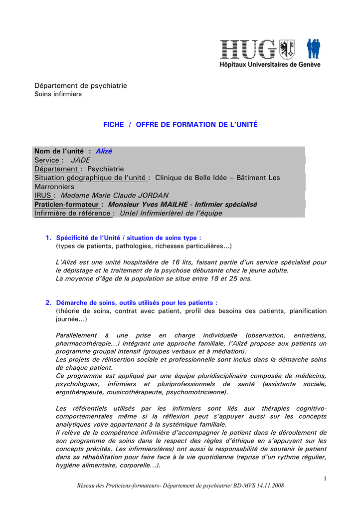 Gut gemocht Département de psychiatrie FICHE / OFFRE DE FORMATION DE L BA65