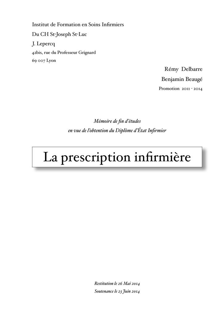Exemple De Mémoire De Fin D étude En Soins Infirmiers ...