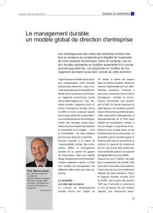 Le management durable: un modèle global de direction