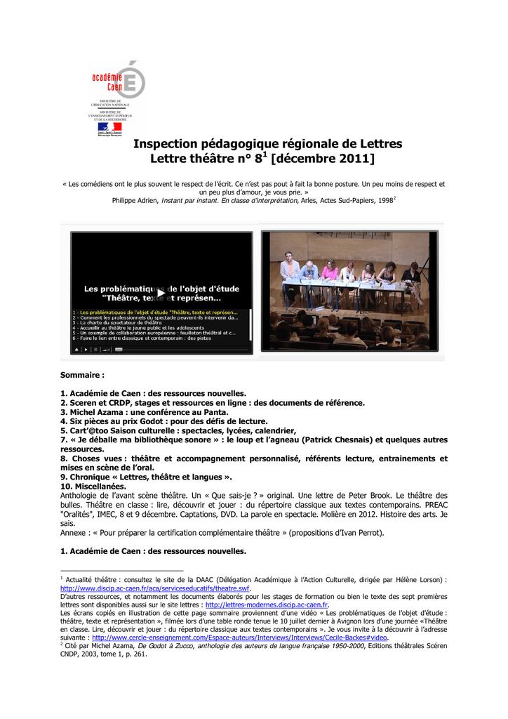 Lettres N° Régionale Inspection Lettre De Pédagogique Théâtre 81 VLUqMSzpG
