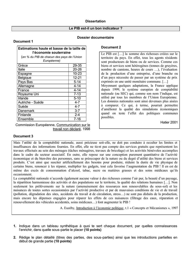 Dissertation Le Pib Est Il Un Bon Indicateur