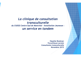 La clinique de consultation transculturelle du