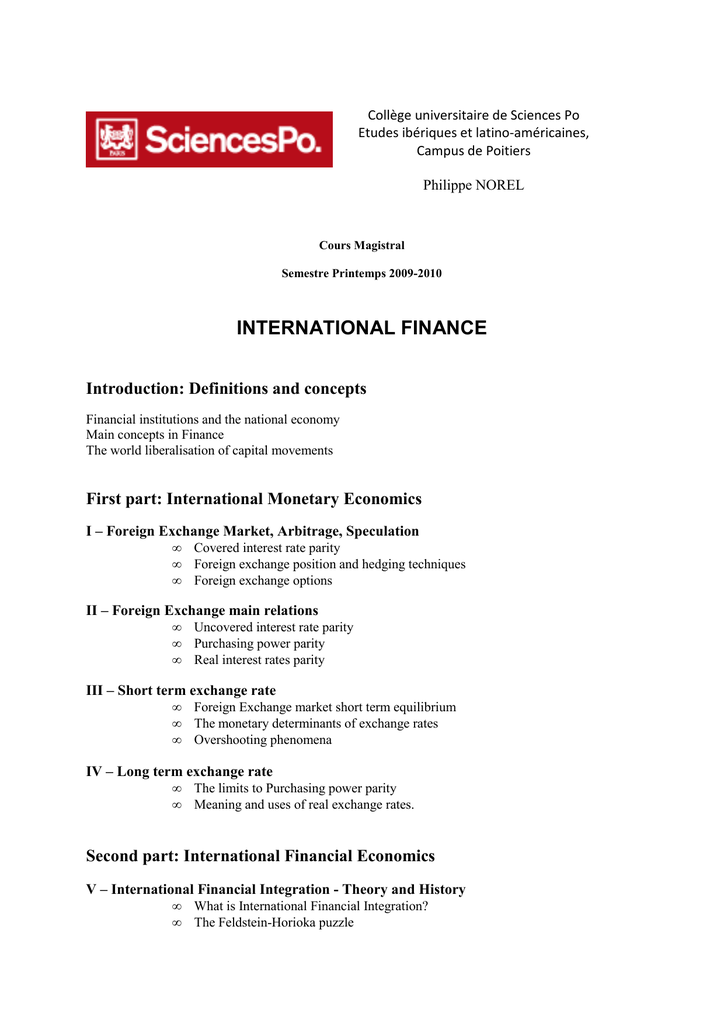 Finance Internationale Philippe Norel