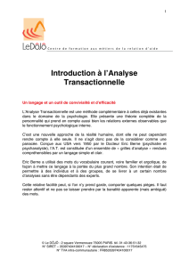 Introduction à l`Analyse Transactionnelle