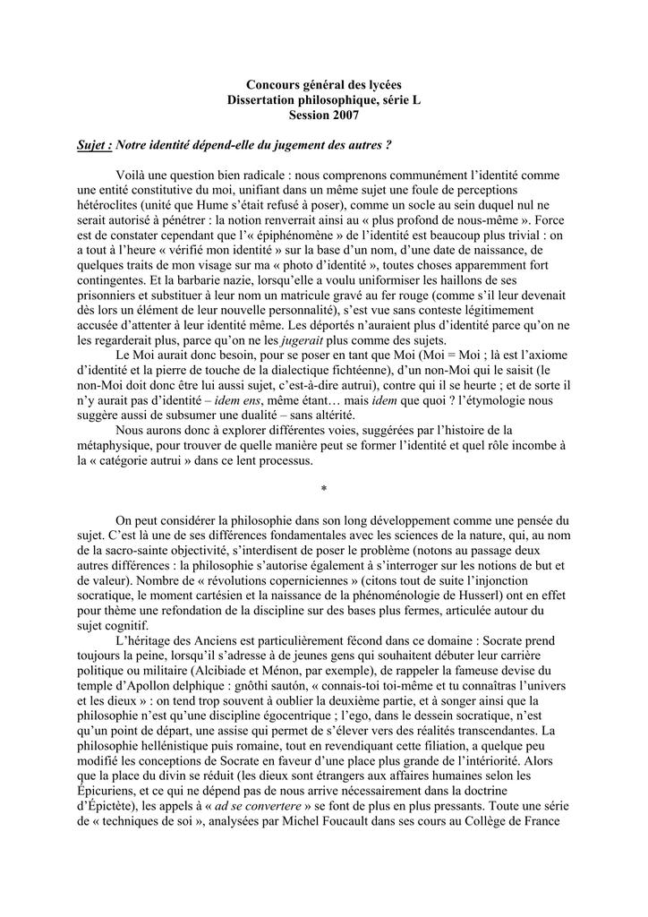 Concours général des lycées Dissertation philosophique