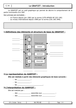 Le GRAFCET : Introduction