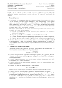 Cours (6 points) I – Portefeuilles efficients (8 points)