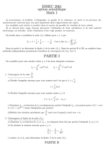 ESSEC 2001 option scientifique Math 1 PARTIE I