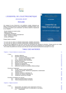 l`essentiel de l`electrocinetique resume table des matieres