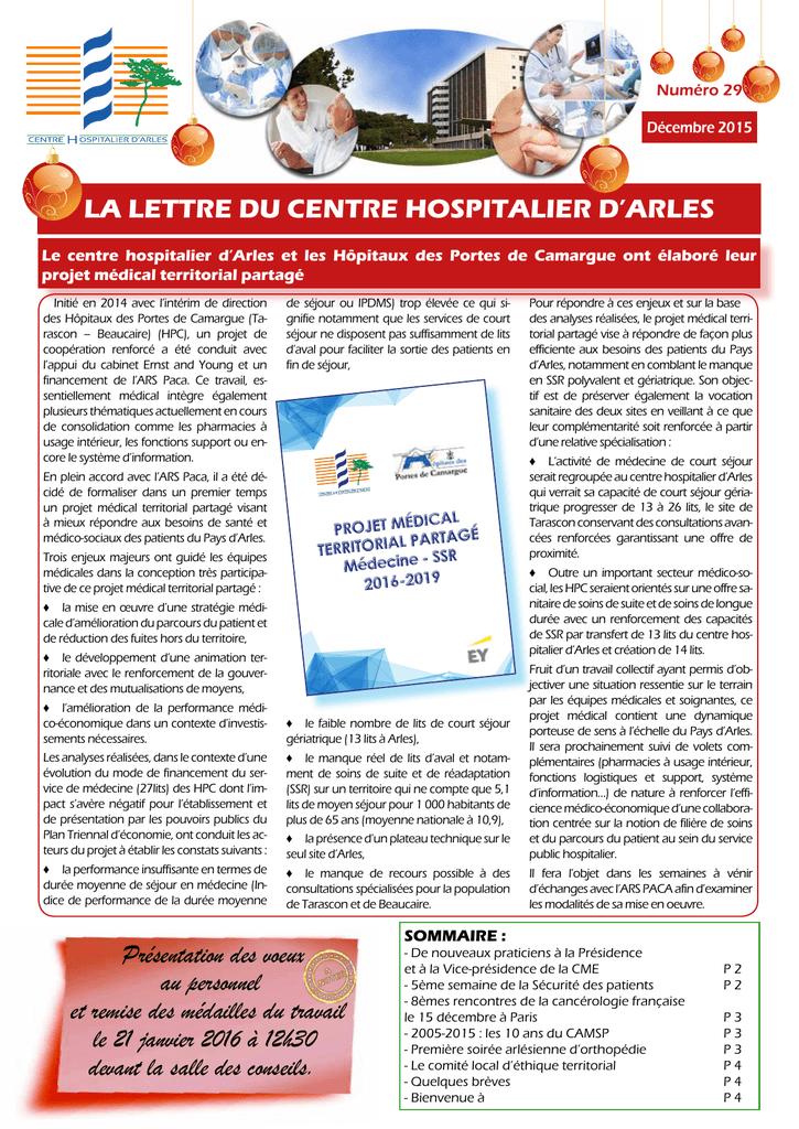 La Lettre Du Centre Hospitalier D Arles Presentation Des