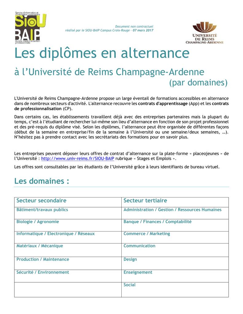 Les Diplomes En Alternance Universite De Reims Champagne