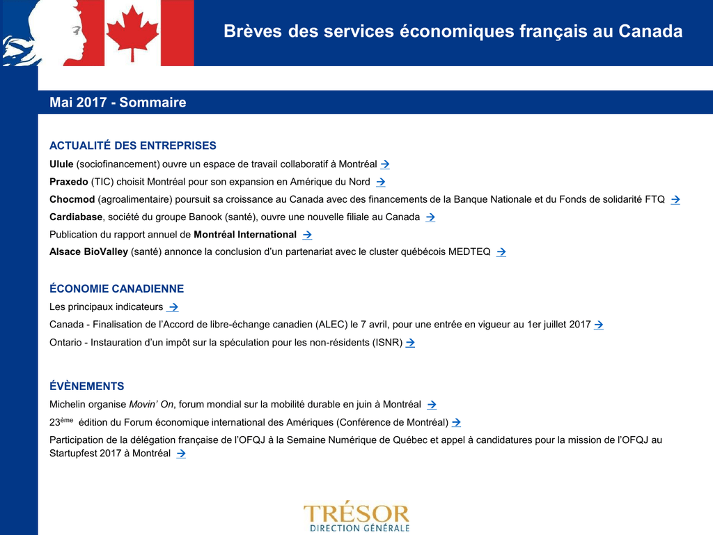 Breves Des Services Economiques Francais Au Canada