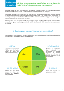 Rédaction procédure Act Plan Check Do