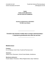 Evolution des business model dans le secteur pharmaceutique : l