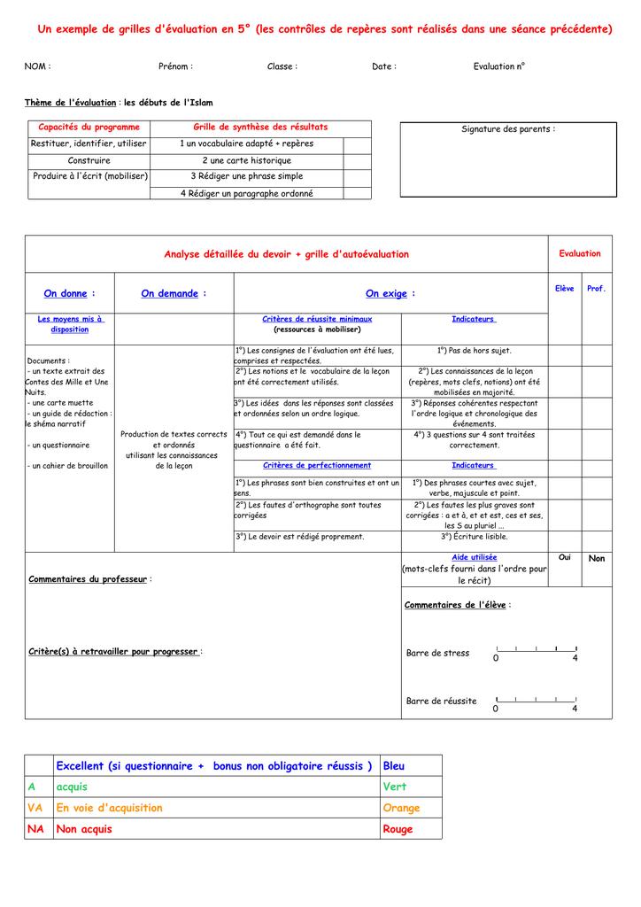 Un exemple de grilles d`évaluation en 5° (les contrôles de
