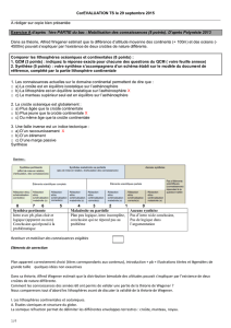 1/4 CorEVALUATION TS le 29 septembre 2015 A rédiger sur copie