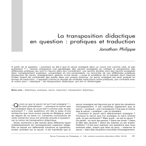 La transposition didactique en question : pratiques et traduction