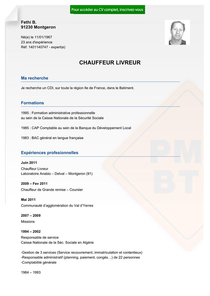 Recrutement CV CHAUFFEUR LIVREUR