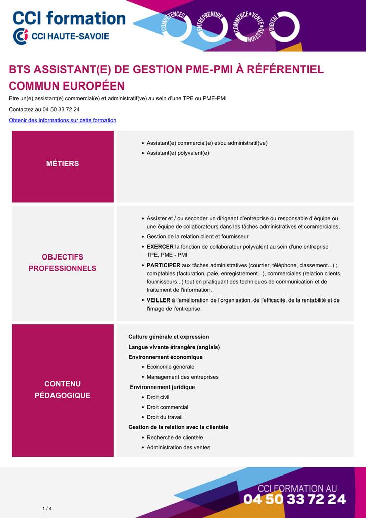 Bts Assistant E De Gestion Pme Pmi A Referentiel Commun Europeen