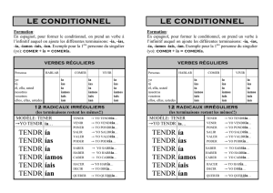 CONJUGAISON Le conditionnel