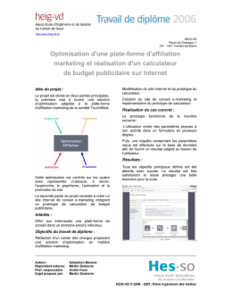 Optimisation d une plate forme d affiliation marketing et rpalisation d