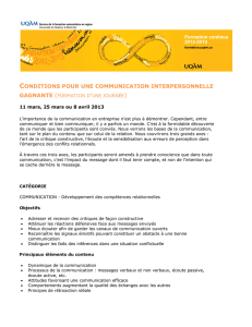 CONDITIONS POUR UNE COMMUNICATION INTERPERSONNELLE
