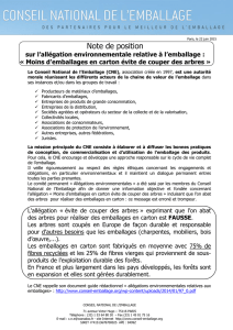Note de position - Carton Ondulé de France