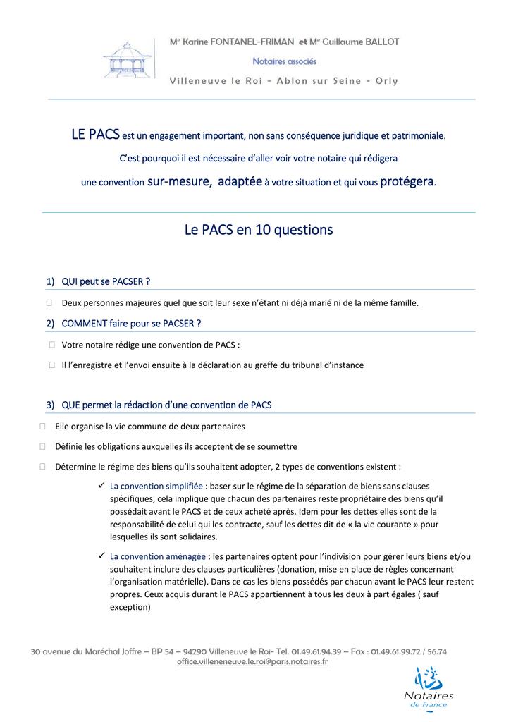 Le Pacs En 10 Questions Notaire Villeneuve Le Roi