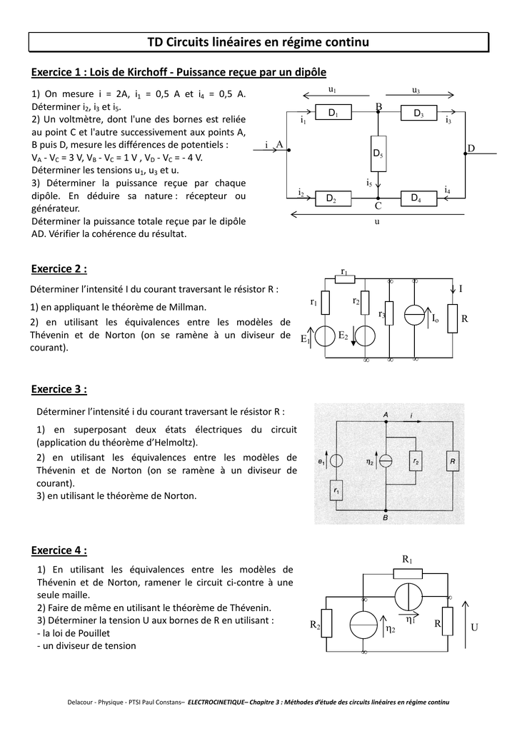 exercice mpsi electricite