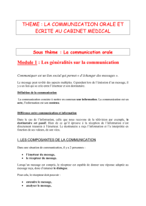 LA COMMUNICATION ORALE ET ECRITE AU CABINET MEDICAL
