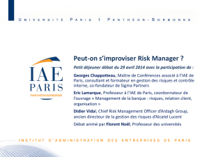 Le risk Management, une fonction qui ne s`improvise