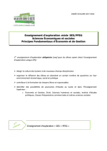Enseignement d`exploration mixte SES/PFEG Sciences