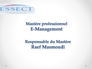 Presentation Mastèr professionnel E-Management