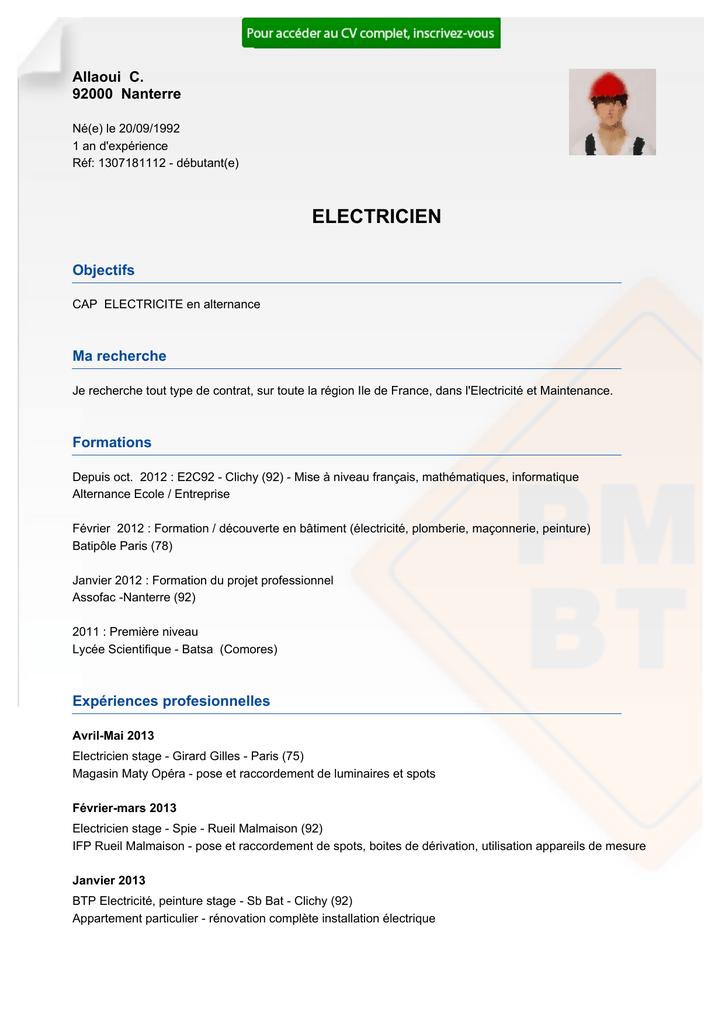 recrutement cv electricien