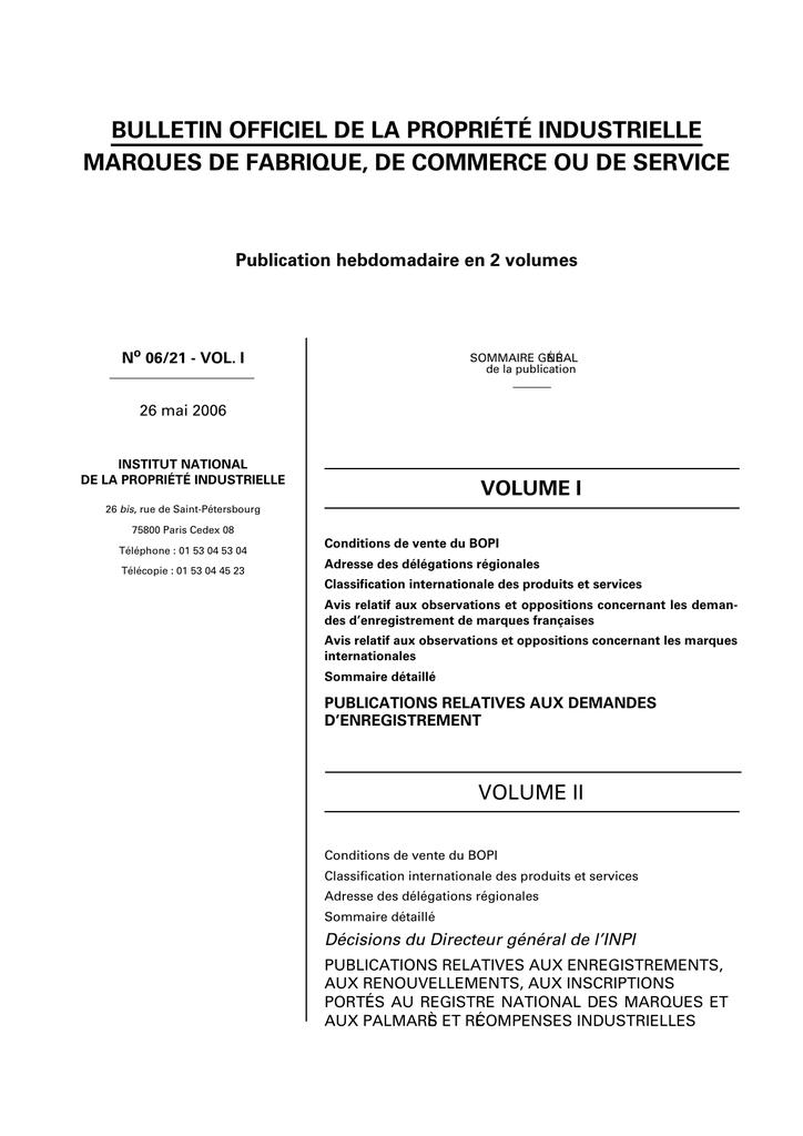 bulletin officiel de la propriété industrielle marques de fabrique 47de03f403d