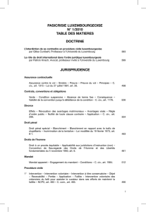 pasicrisie luxembourgeoise n° 1/2010 table des matieres doctrine