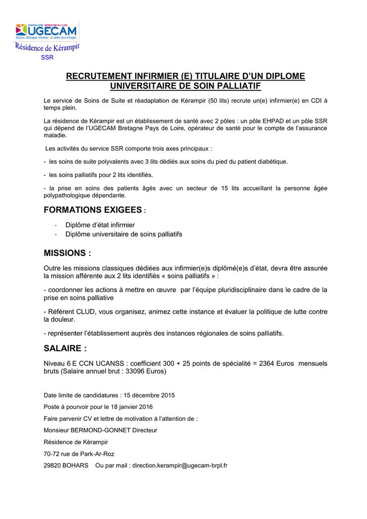 Recrutement Infirmier E Titulaire D Un Diplome Universitaire De Soin