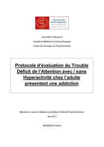 Protocole d`évaluation du Trouble Déficit de l`Attention avec / sans