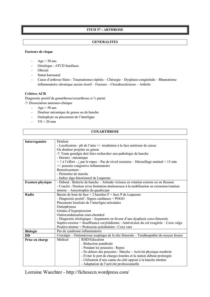 item 57 – arthrose - Fiches ECN